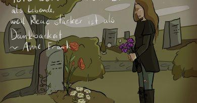 Anne Frank: Blumen am Grab